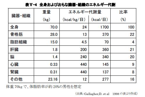 全身のエネルギー代謝の表