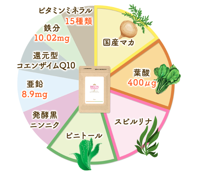 ベルタ葉酸マカプラスの栄養素